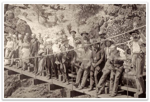 old flume and construction crew